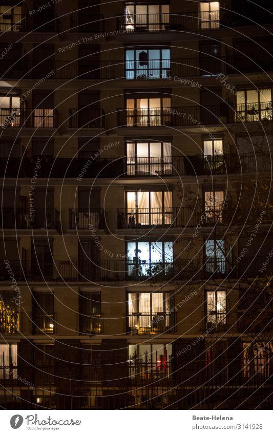 Quarantäne: wir bleiben zu Hause Einblick Hochhaus Leben Nacht Licht Zuhause Isolation bewohnt belebt Gemütlichkeit Schutz Gesundheit Familienleben Heimat