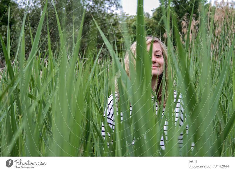 Im Schilf Mensch feminin Junge Frau Jugendliche Natur Pflanze Freude Glück Fröhlichkeit Zufriedenheit Lebensfreude Schilfrohr Tag Porträt Oberkörper Blick