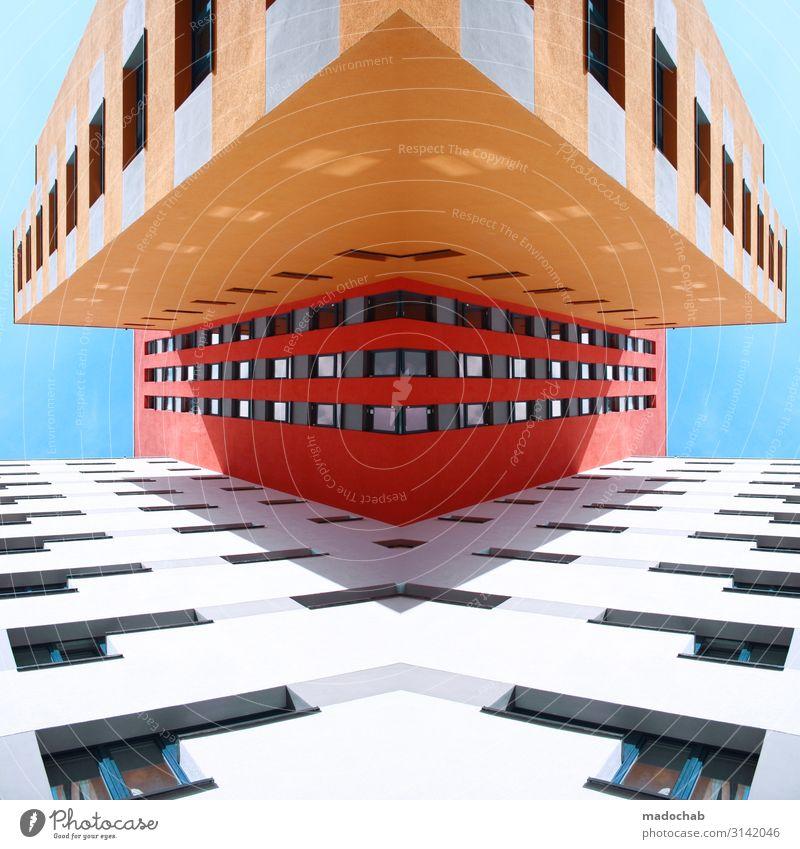 Kommandodeck Stadt bevölkert Haus Traumhaus Hochhaus Turm Bauwerk Gebäude Architektur Fassade ästhetisch eckig Sicherheit Schutz Hochmut Übermut Dekadenz Design