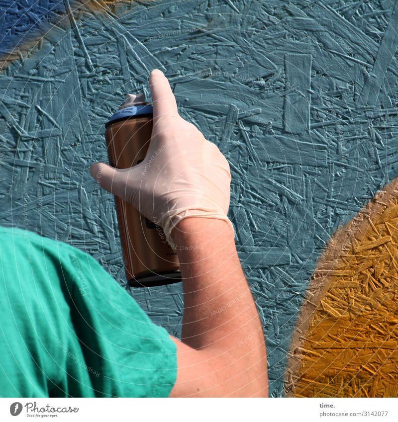 colour up your life (IV) maskulin Mann Erwachsene Arme Hand Finger Schulter 1 Mensch Kunst Künstler Kunstwerk Gemälde Tagger Mauer Wand Handschuhe