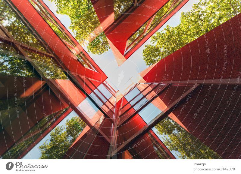 Rotes Gebäude abstrakt Stil Design Bauwerk Architektur trendy rot Farbe Fortschritt Zukunft Linie Menschenleer Froschperspektive Fassade Reflexion & Spiegelung