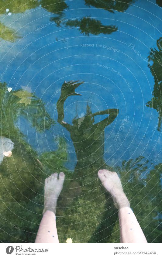 hilfe, mein ich ist kaputt schräg seltsam lustig verrückt Reflexion & Spiegelung Wasser Wasseroberfläche nass Gewässer Bach Wasserbecken Dynamik Verzerrung