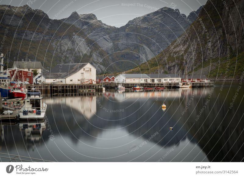 Hafenidylle Ferien & Urlaub & Reisen Tourismus Ausflug Abenteuer Umwelt Landschaft Felsen Berge u. Gebirge Fjord Hamnöy Reine Lofoten Norwegen Skandinavien