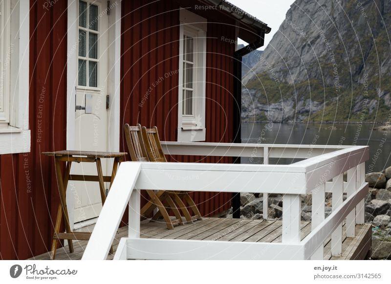 Unser Nest Ferien & Urlaub & Reisen Felsen Berge u. Gebirge Fjord Reine Lofoten Norwegen Skandinavien Haus Einfamilienhaus Traumhaus Hütte Fassade Balkon