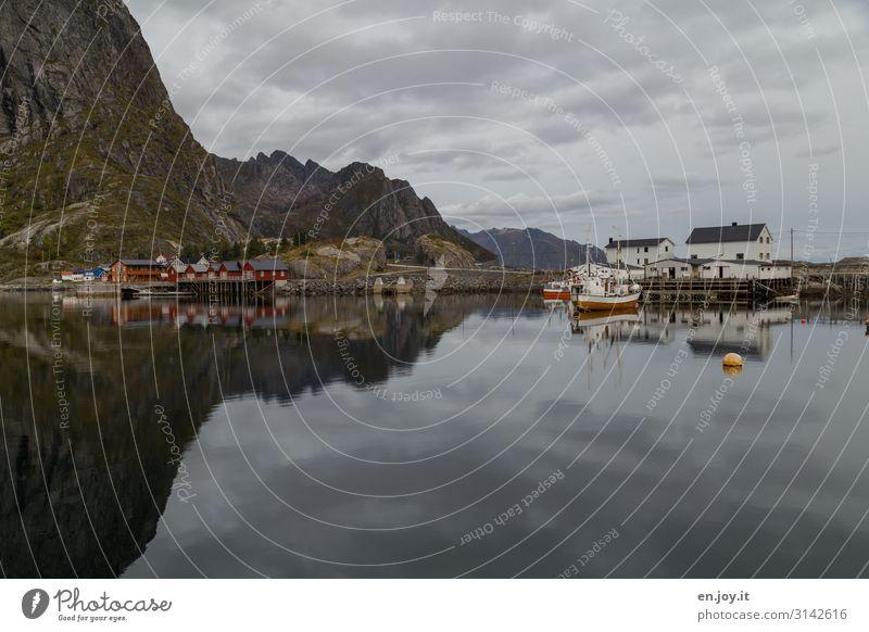 Wasserwelt Ferien & Urlaub & Reisen Umwelt Natur Landschaft Himmel Horizont Herbst Felsen Berge u. Gebirge Fjord Hamnöy Reine Norwegen Skandinavien Lofoten