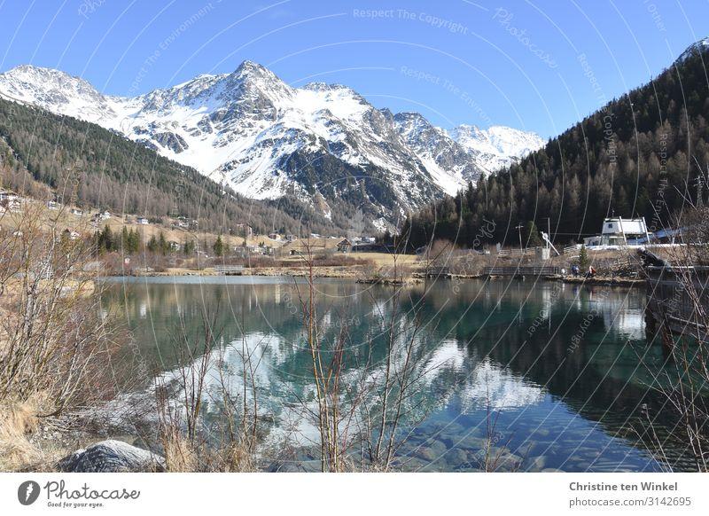 Dorfteich in Sulden am Ortler Landschaft Wasser Wolkenloser Himmel Frühling Winter Schönes Wetter Alpen Berge u. Gebirge Schneebedeckte Gipfel Teich Italien
