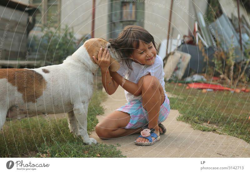 Hund schnüffelt an einem glücklichen Kind Kindererziehung Bildung Kindergarten Ackerbau Forstwirtschaft Telekommunikation Natur Garten Tier Haustier Nutztier