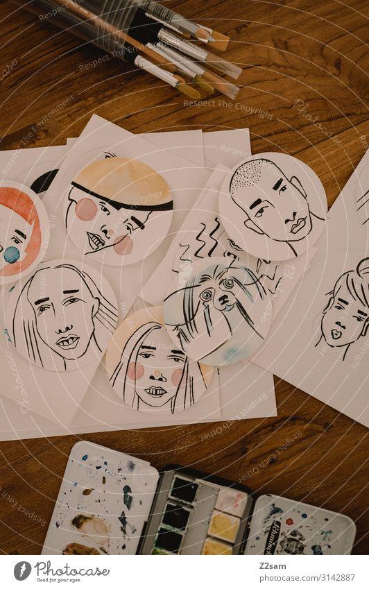 Illustratoren-Tisch Kunst Künstler Maler Arbeit & Erwerbstätigkeit zeichnen trendy modern mehrfarbig ästhetisch Design einzigartig Inspiration Kreativität