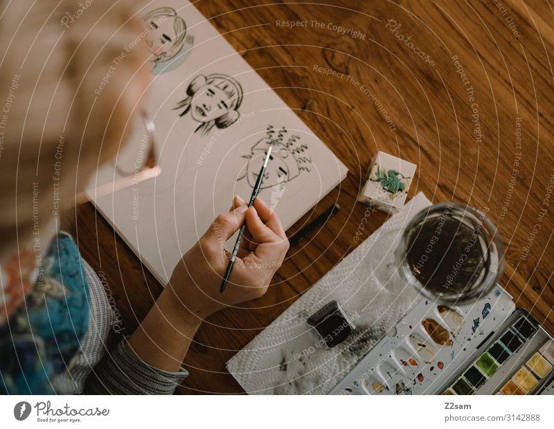 Illustration elegant Stil Freizeit & Hobby Junge Frau Jugendliche 18-30 Jahre Erwachsene Kunst Künstler Maler Kunstwerk Brille Arbeit & Erwerbstätigkeit