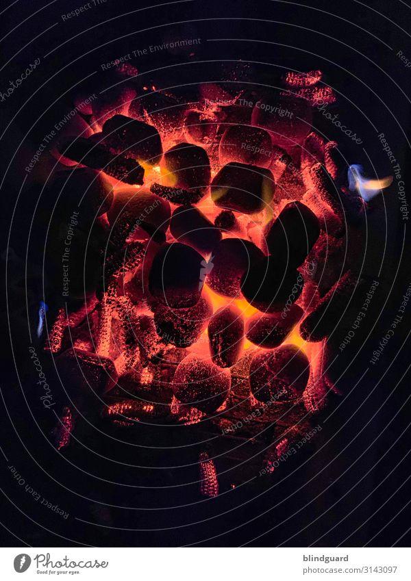 Grillsaison ist das ganze Jahr Ernährung Lifestyle Feste & Feiern heiß blau gelb rot schwarz Wärme Feuer Kohle Grillkohle kochen & garen Glut Flamme Farbfoto
