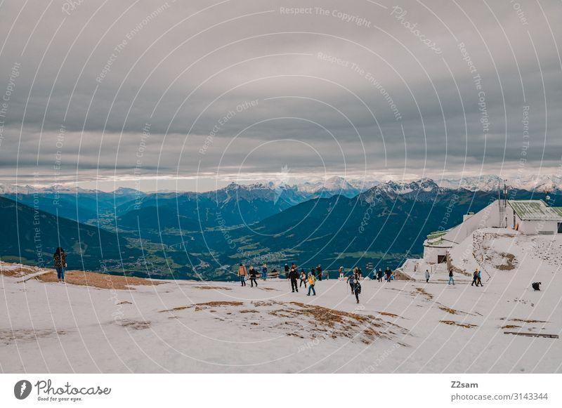 Nordkette Freizeit & Hobby Ferien & Urlaub & Reisen Tourismus Sightseeing Berge u. Gebirge wandern Menschengruppe Natur Landschaft Himmel Gewitterwolken Herbst