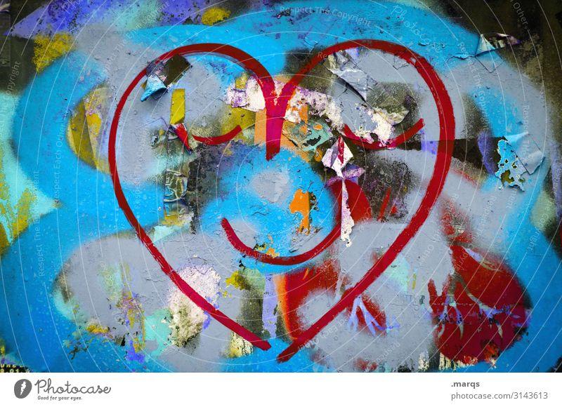 Feel good Freude Graffiti Wand Liebe Gefühle lachen Mauer Herz genießen positiv