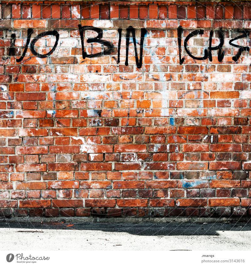 Links unten Stil Mauer Wand Backsteinwand Schriftzeichen Graffiti Beratung Identität Verfall Wandel & Veränderung Zukunft wo Orientierung Fragezeichen