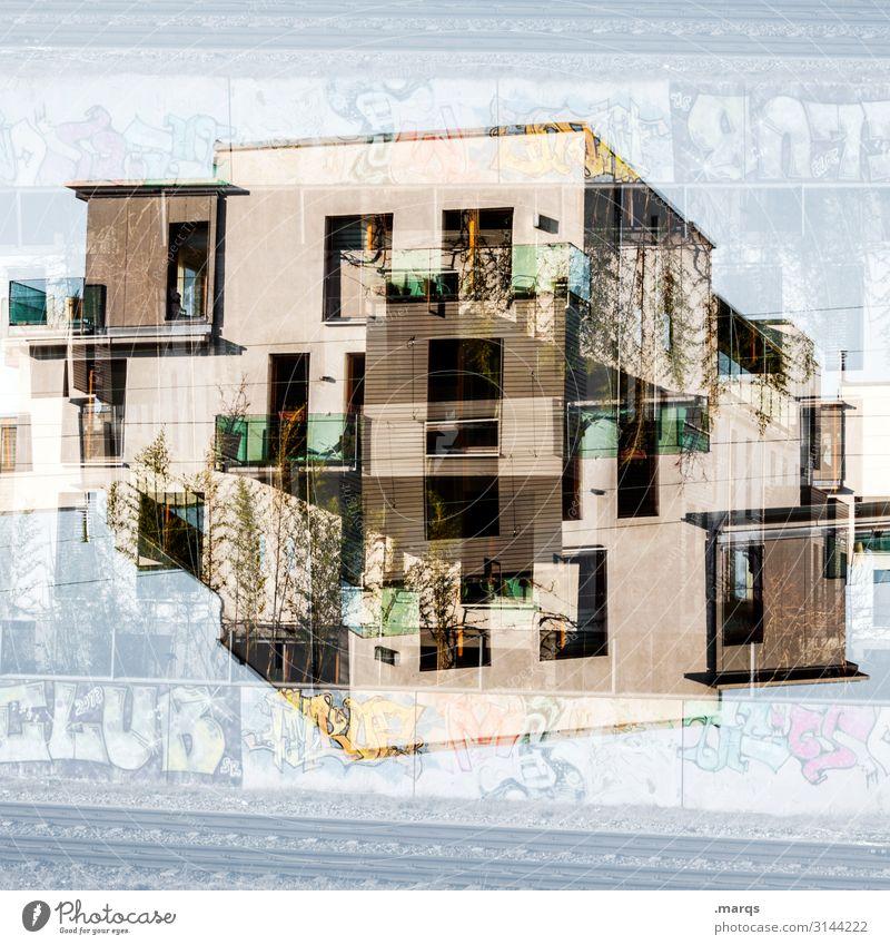 Clubhouse Doppelbelichtung Architektur abstrakt modern Perspektive Stil Design außergewöhnlich Fassade trendy verrückt Irritation Lifestyle wohnen urban Haus