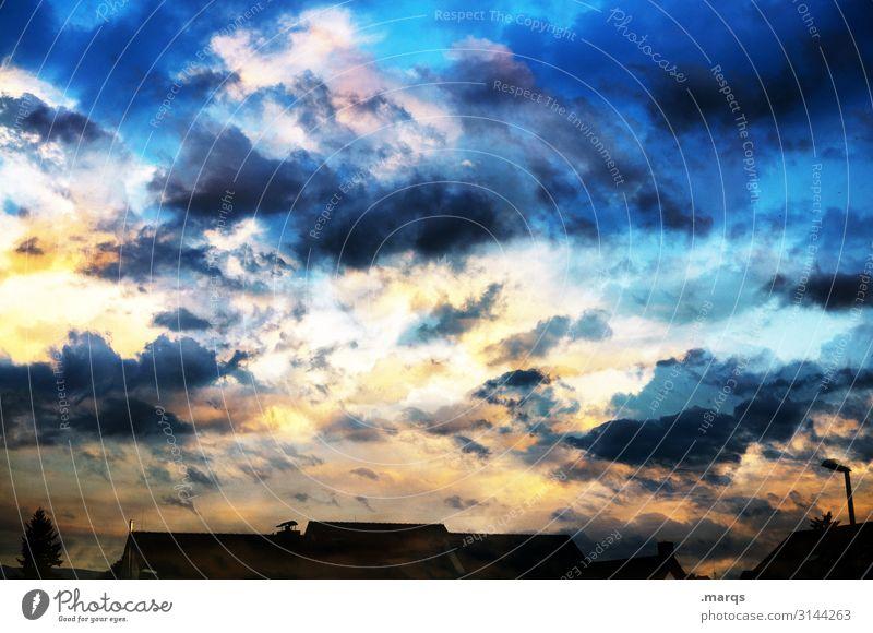 Kitschy   3200 Natur Urelemente Luft Himmel Wolken Sonnenaufgang Sonnenuntergang Klima Wetter Dach außergewöhnlich Stimmung Romantik Umwelt Vielfältig Farbfoto
