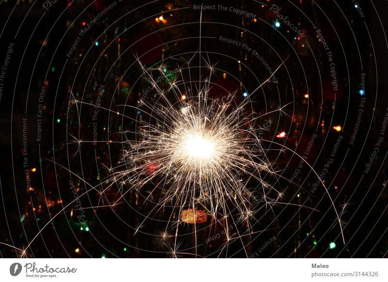 Wunderkerze Kerze schwarz Party Feuer Hintergrundbild Funken Licht Feuerwerk Weihnachten & Advent Nacht Geburtstag glühen bengal dunkel Feste & Feiern