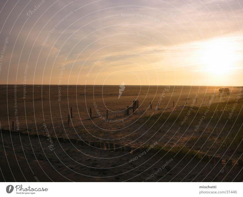 forever vw Sonnenuntergang Strand Ebbe Wolken Dämmerung Erholung losgelöst Abend bulli ruhig Zufriedenheit Freiheit
