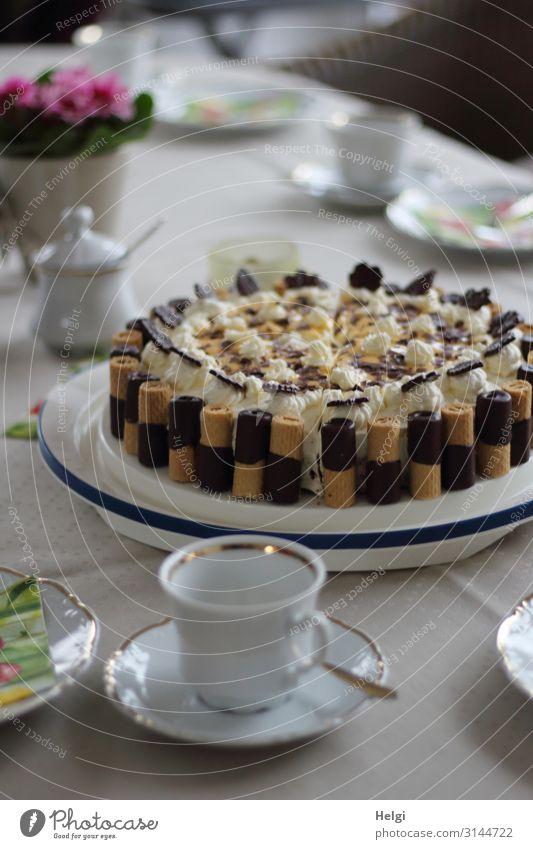 Geburtstagstorte weiß Lebensmittel Feste & Feiern außergewöhnlich braun grau rosa Stimmung Ernährung frisch stehen Lebensfreude genießen authentisch einzigartig