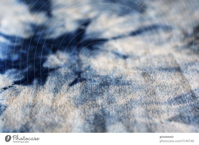 Batik Mode Bekleidung Stoff blau weiß Hintergrundbild horizontal indigo Material abstrakt Strukturen & Formen Textilien Zufall Farbstoff Farbe färben