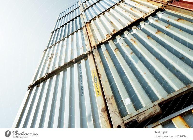 container Güterverkehr & Logistik bedrohlich blau grün Handel Container Containerterminal Containerverladung Rost Stahl Metall groß Farbfoto Außenaufnahme
