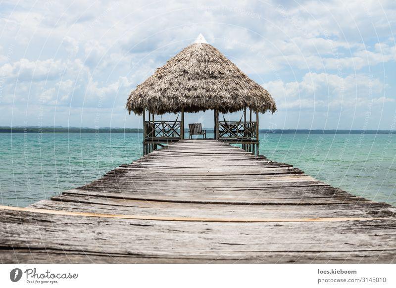 Wooden dock with palm roof, El Remate, Guatemala Erholung Ferien & Urlaub & Reisen Tourismus Abenteuer Ferne Freiheit Sommer Sonne Strand Wassersport