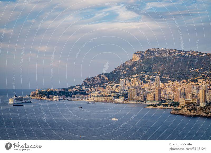 Monaco Stadtlandschaft nach Sonnenaufgang Landschaft Berge u. Gebirge Tete de chien Monte Carlo Frankreich Europa überbevölkert Ferien & Urlaub & Reisen
