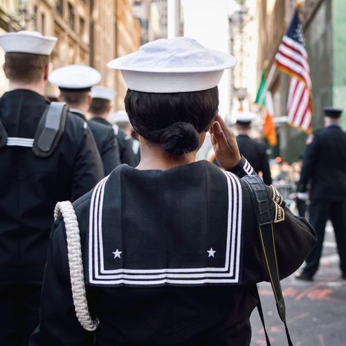 Parademarsch! feminin Freiheit Mode Kraft stehen USA bedrohlich Show Stadtzentrum Stars and Stripes Hut Veranstaltung Mütze Krieg Aggression Stolz