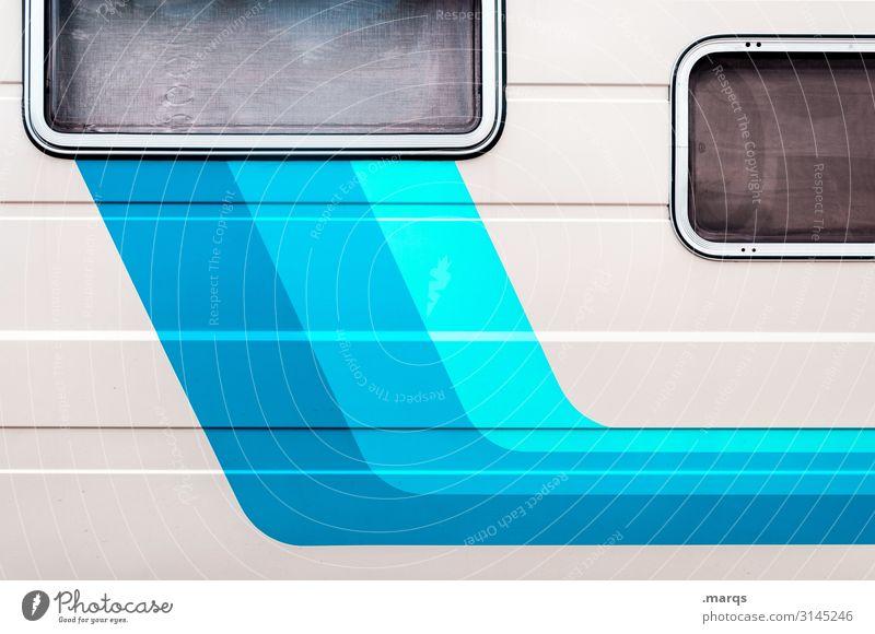 Wohnwagen Ferien & Urlaub & Reisen blau Farbe weiß Fenster Tourismus Ausflug Freizeit & Hobby Linie ästhetisch Coolness türkis Mobilität Dynamik Wohnmobil