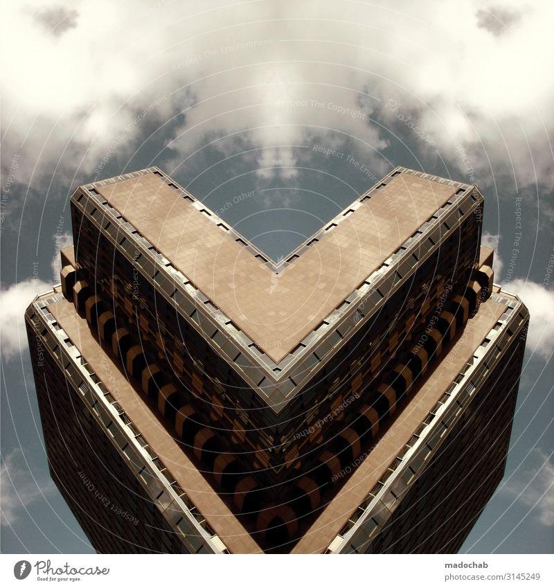 HERZ AUS BETON | URBANLOVE™ Stadt Architektur Business Gebäude Hochhaus Kraft Ordnung Herz Erfolg Armut Zukunft bedrohlich Turm Macht Bauwerk Bankgebäude