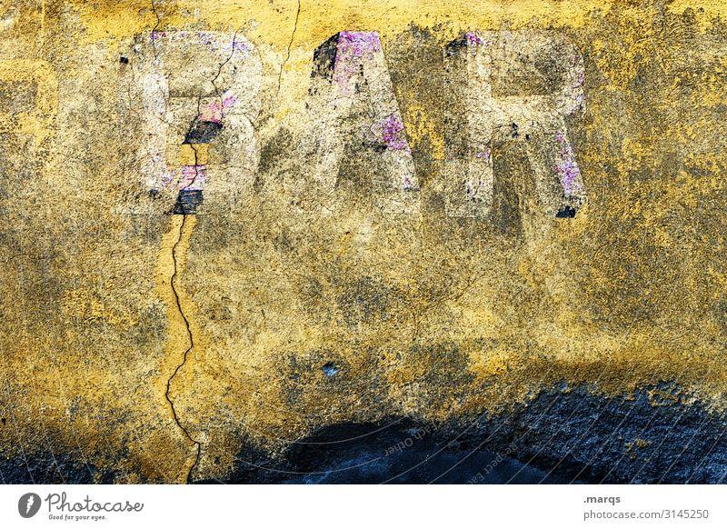 BAR alt gelb Wand Feste & Feiern Mauer Schriftzeichen Wandel & Veränderung trinken Verfall Bar Alkohol Nachtleben ausgehen Cocktailbar