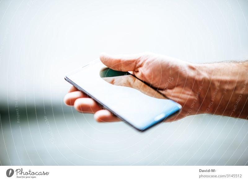 Hand(y) Mensch Mann Erwachsene Leben Stil Kunst Design maskulin elegant Technik & Technologie Glas Haut Finger bedrohlich Information