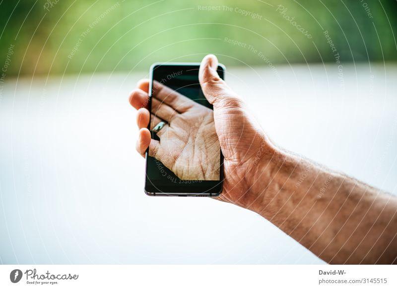 mit dem Handy verschmelzen Bildschirm Fotokamera Technik & Technologie Unterhaltungselektronik Wissenschaften Fortschritt Zukunft High-Tech Telekommunikation