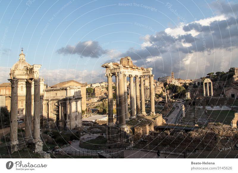 Forum Romanum Wolken Bauwerk Gebäude Mauer Wand Säule Wahrzeichen Stein Zeichen Ruine Altertum alt ästhetisch außergewöhnlich Bekanntheit fantastisch historisch