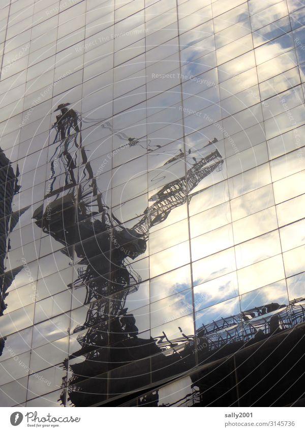 Großstadtbaustelle... Fassade Glasfassade Kran Baukran Reflexion & Spiegelung Sonnenlicht Baustellen Architektur Hochhaus New York City Manhattan USA Gebäude