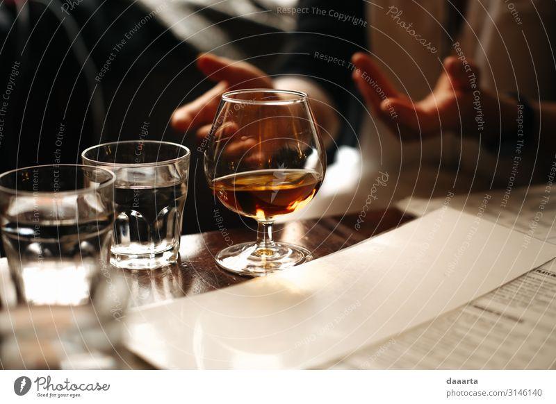 Gesellschaftsabend Getränk Erfrischungsgetränk Alkohol Spirituosen Whiskey Wasser Cognac Weinbrand Lifestyle elegant Stil Freude Leben harmonisch Abenteuer