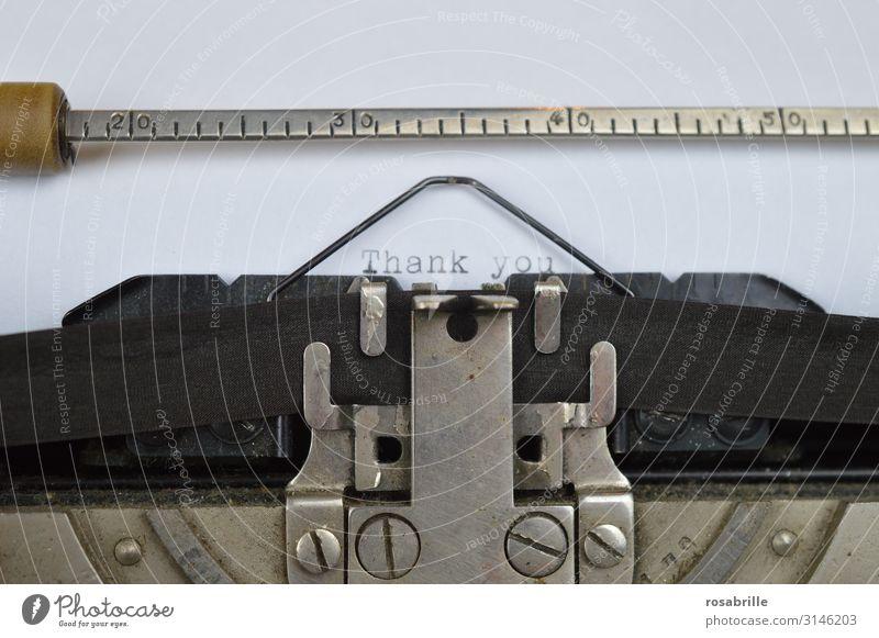 Schreibmaschine | Geschriebenes Freizeit & Hobby Tastatur Druckmaschine Technik & Technologie Brief Information Farbband schreiben alt schwarz weiß dankbar