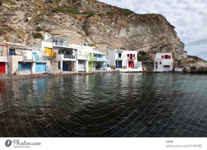 Am Wasser wohnen Landschaft Hügel Felsen Küste Meer Mittelmeer Ägäis Insel Kykladen Milos Griechenland Dorf Fischerdorf Altstadt Menschenleer Haus Hütte