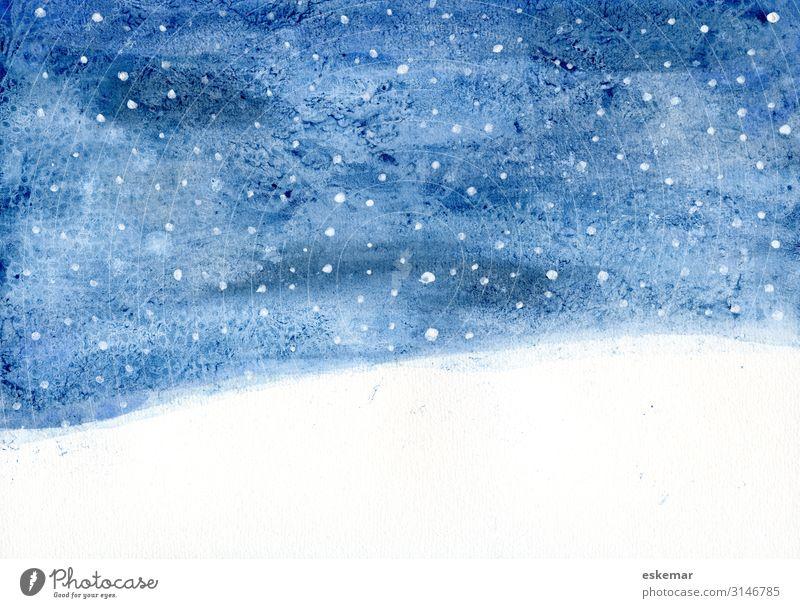 Winternacht Aquarell Schnee Winterurlaub Weihnachten & Advent Kunst Kunstwerk Gemälde Umwelt Natur Landschaft Himmel Stern Horizont Schneefall fallen ästhetisch