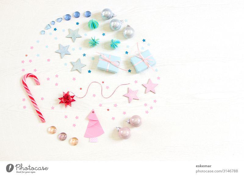 Weihnachten Flatlay Süßwaren Zuckerstange Dekoration & Verzierung Feste & Feiern Weihnachten & Advent Papier Sammlung Christbaumkugel Weihnachtsdekoration Kugel