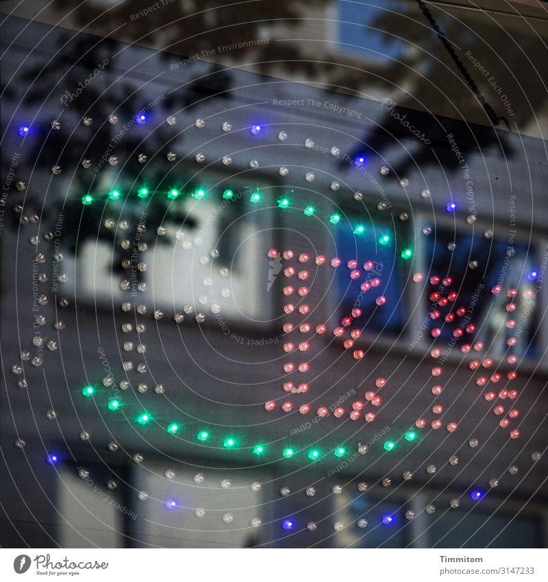 Firlefanz | Blinkender Hinweis Köln Haus Mauer Wand Dekoration & Verzierung Werbung Leuchtdiode Glas Schriftzeichen leuchten blau grün rot schwarz Open blinken
