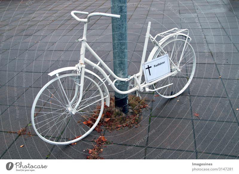 Ghost bike - Radfahrer überfahren Fahrrad Tod Todesarten ghost bike kaputt sportlich trist Wut weiß loyal Mitgefühl Solidarität trösten Verantwortung