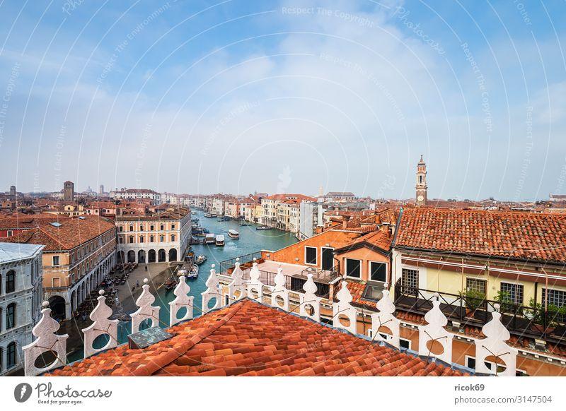 Blick auf den Canal Grande in Venedig, Italien Erholung Ferien & Urlaub & Reisen Tourismus Haus Wasser Wolken Stadt Altstadt Turm Bauwerk Gebäude Architektur