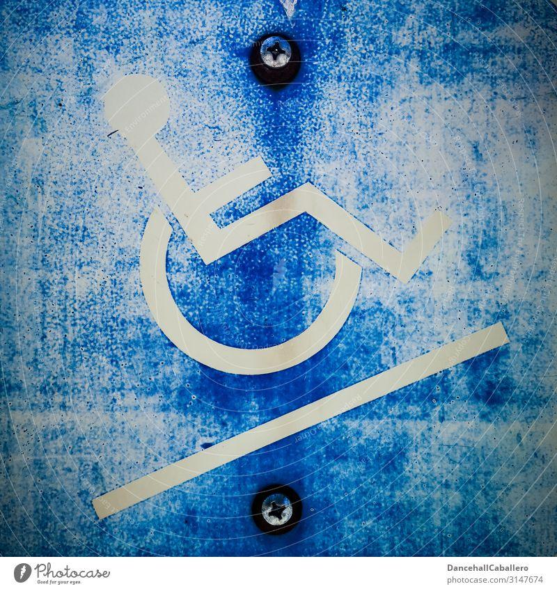 Rollstuhl... Mensch Senior Leben Zeichen Schilder & Markierungen Hinweisschild Warnschild Behindertengerecht Mobilität Parkplatz parken aufwärts Seniorenpflege