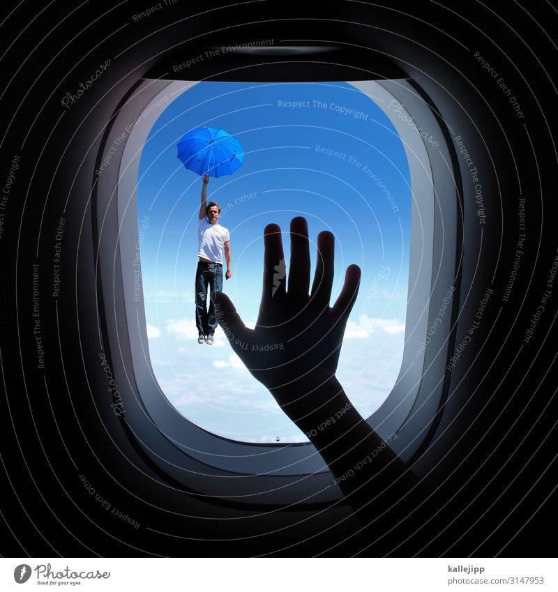 flugbegleiter Himmel Wolken Fenster Bewegung Flugzeugfenster Verkehr Luftverkehr Grafik u. Illustration fallen Regenschirm Verkehrswege Personenverkehr Höhe