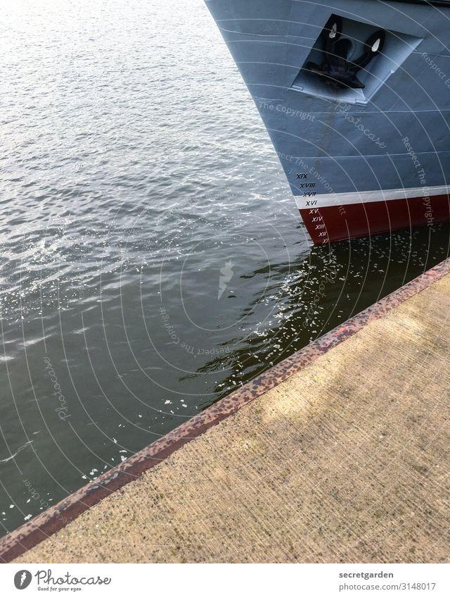 UTHH19_III, VII, V, VI, VII, VIII, VIIII, X, XI ... blau Wasser braun Wasserfahrzeug Verkehr glänzend Ziffern & Zahlen Hafen Schifffahrt Anlegestelle maritim