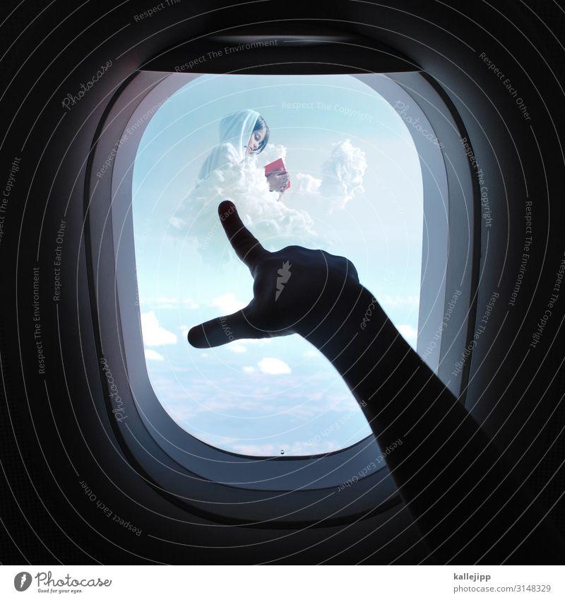 bildungsreise Kind Mensch Himmel Natur rot Hand Wolken Mädchen Umwelt träumen Luftverkehr Arme Buch Finger Grafik u. Illustration Flugzeug