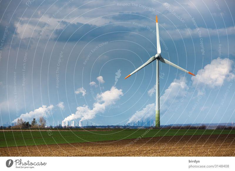 zu viel Kohle Energiewirtschaft Erneuerbare Energie Windkraftanlage Kohlekraftwerk Himmel Wolken Klimawandel Feld drehen Rauchen authentisch nachhaltig blau