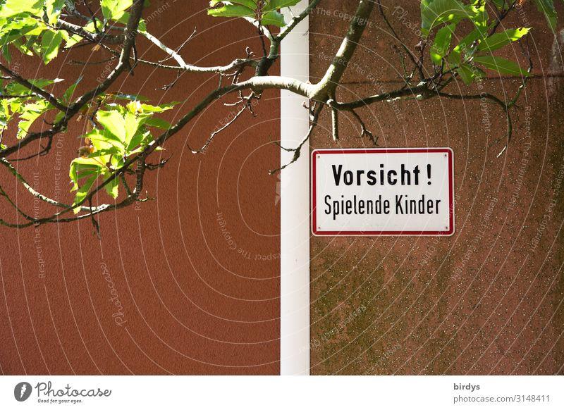 Gefahr von allen Seiten Spielen Schönes Wetter Baum Mauer Wand Schriftzeichen Schilder & Markierungen Hinweisschild Warnschild rennen authentisch lustig positiv