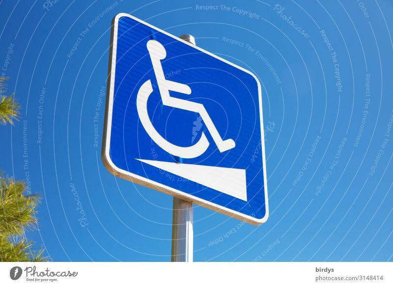 Barrierefrei ? Gesundheitswesen Rollstuhl androgyn 1 Mensch Wolkenloser Himmel Schönes Wetter Zeichen Schilder & Markierungen Hinweisschild Warnschild