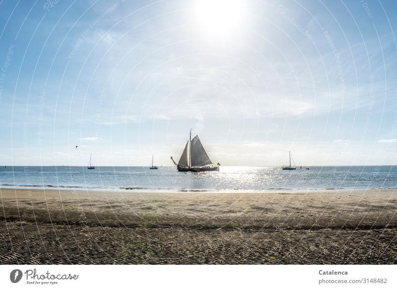 Ein Plattbodenschiff segelt träge am Strand vorbei, die Flut setzt ein und die Sonne scheint Küste Meer Wasser Sand Ferien & Urlaub & Reisen Horizont Himmel
